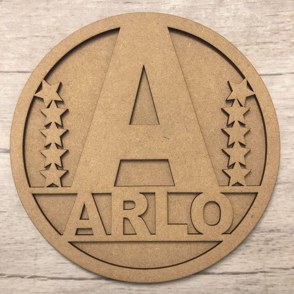 Hoop Plaque  - Name Customised (Initial Star)