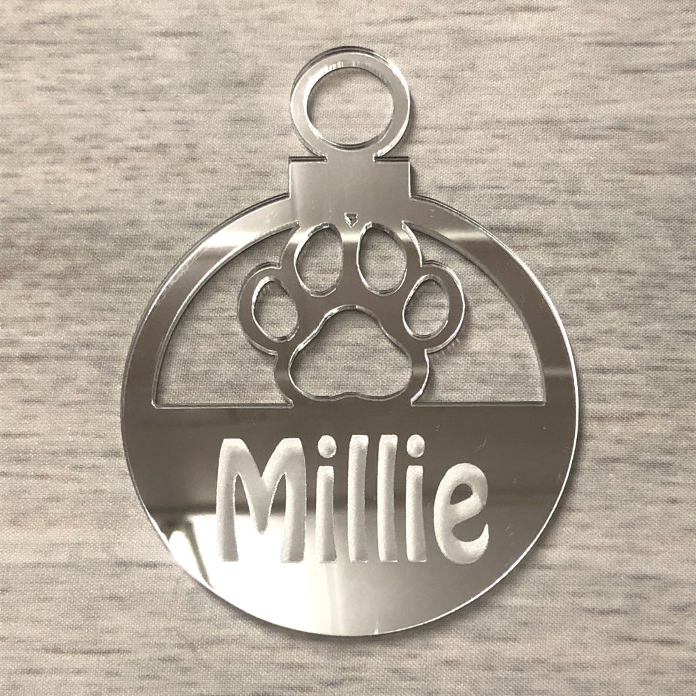 Bauble  - Mirrored Acrylic Paw (personalised)