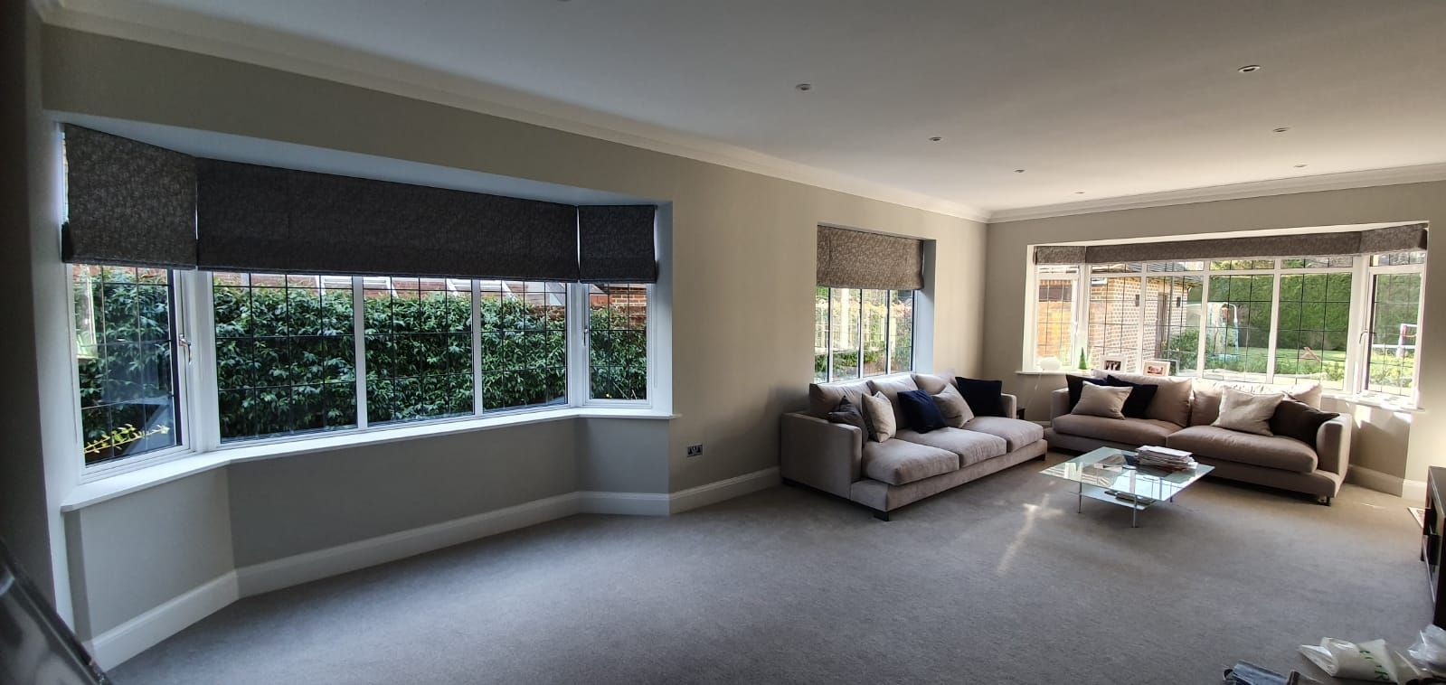 Roman blind sevenoaks bay window roman blinds dark fabric