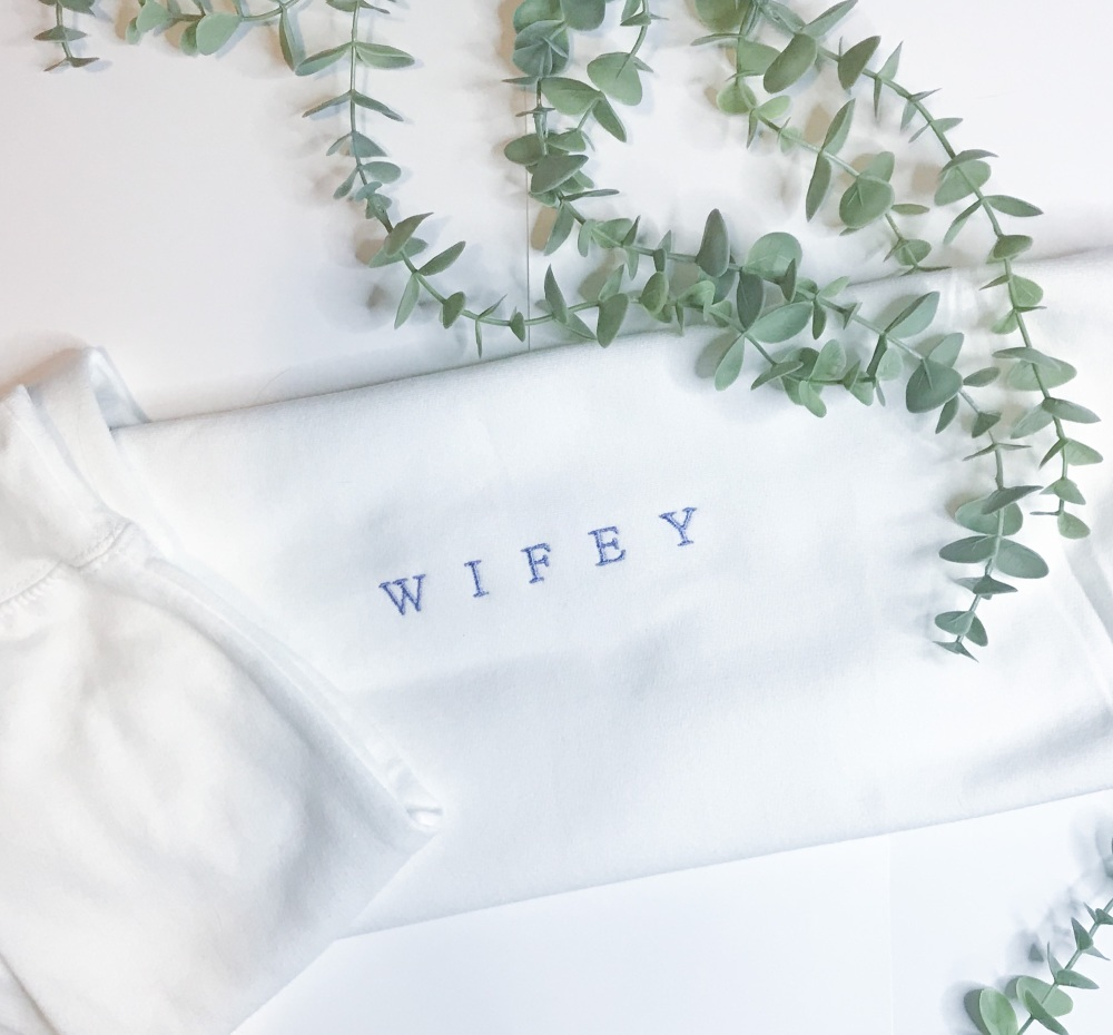Wifey Embroidered Sweat--WHITE AND BLUE