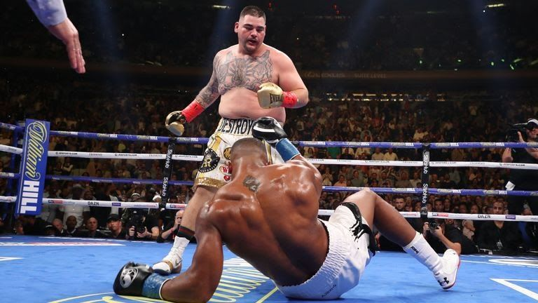 Anthony Joshua on the canvas
