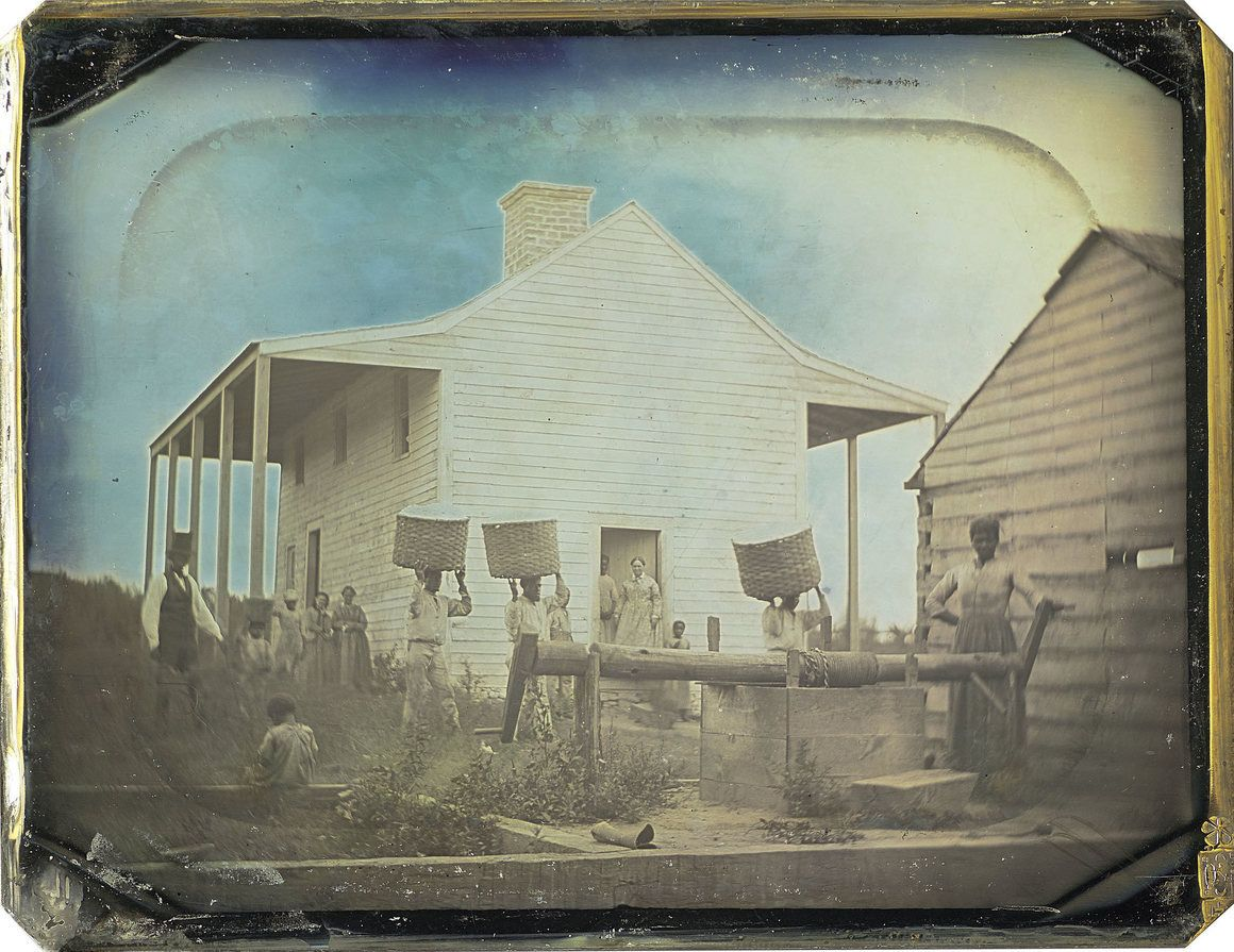 An image of the Gentry daguerreotype with the frame removed. Gentry's two-story home was much smaller than the houses that the wealthiest slaveowners lived in. NELSON-ATKINS MUSEUM OF ART