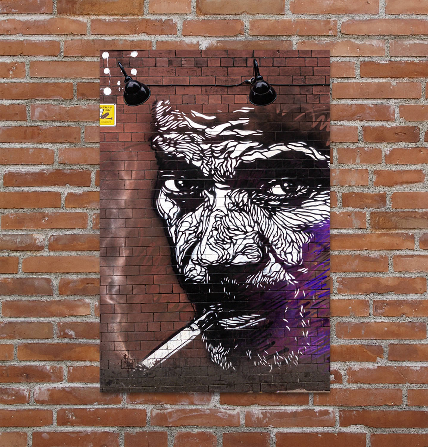 Graffiti artwork of the Smokin' Man in Manchester.