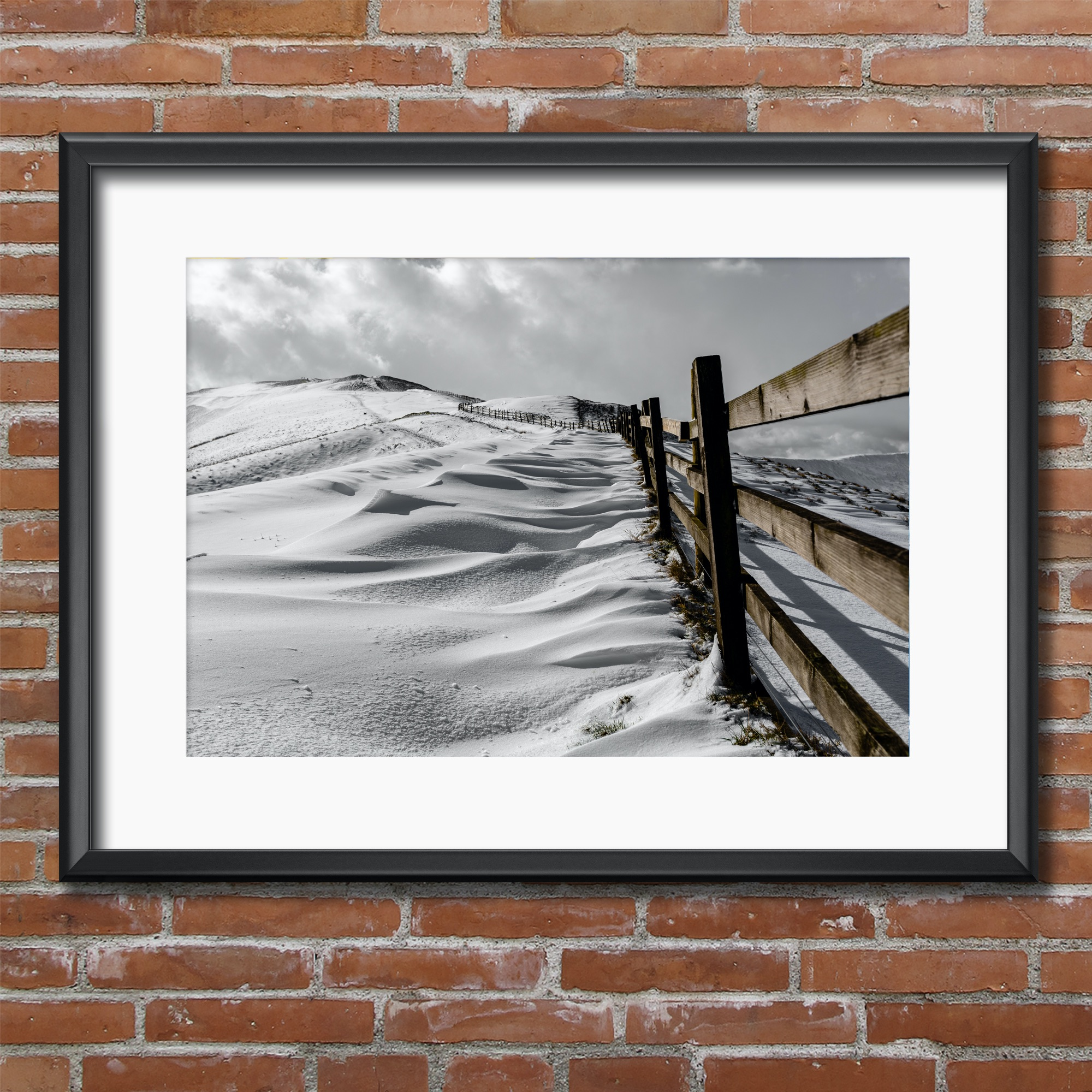 Mam Tor Snow Drifts along Fence.