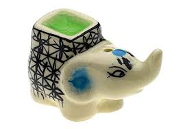 Ceramic Elephant Incense Holder -SMALL -  Various colours available