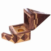Mosaic Wooden Pyramid Incense Cone Burner with storage