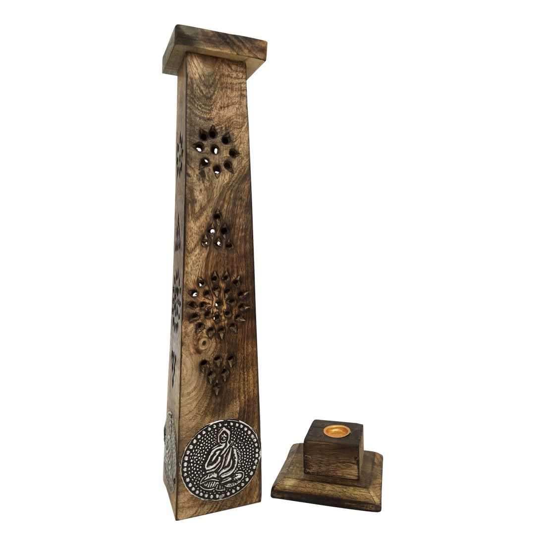 Smoke Towers Mango Wood Incense holder with silver inlay