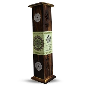 Wooden Tower with side door with a Mandala Design.