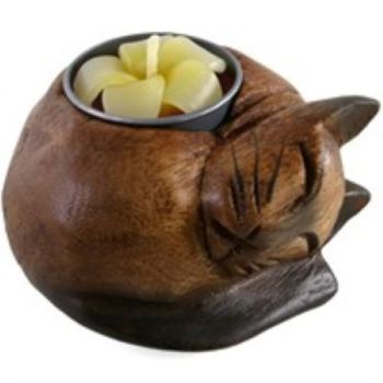 3-in-1 Holder - Wooden Curled Cat