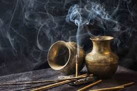 incense image with brass bowls