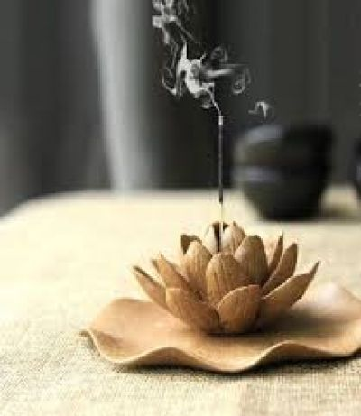 incense in lotus holder