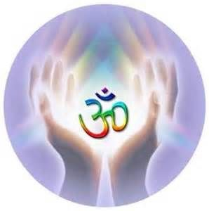 Om symbol in cupped hands