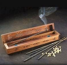 incense in smoke box