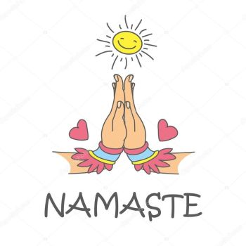 Clip Art namaste with sun and lotus