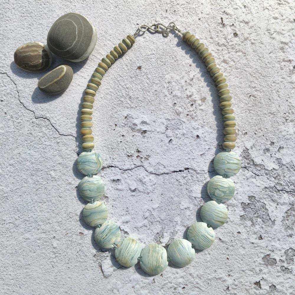 Morvoren Necklace - Light Blue & Ivory