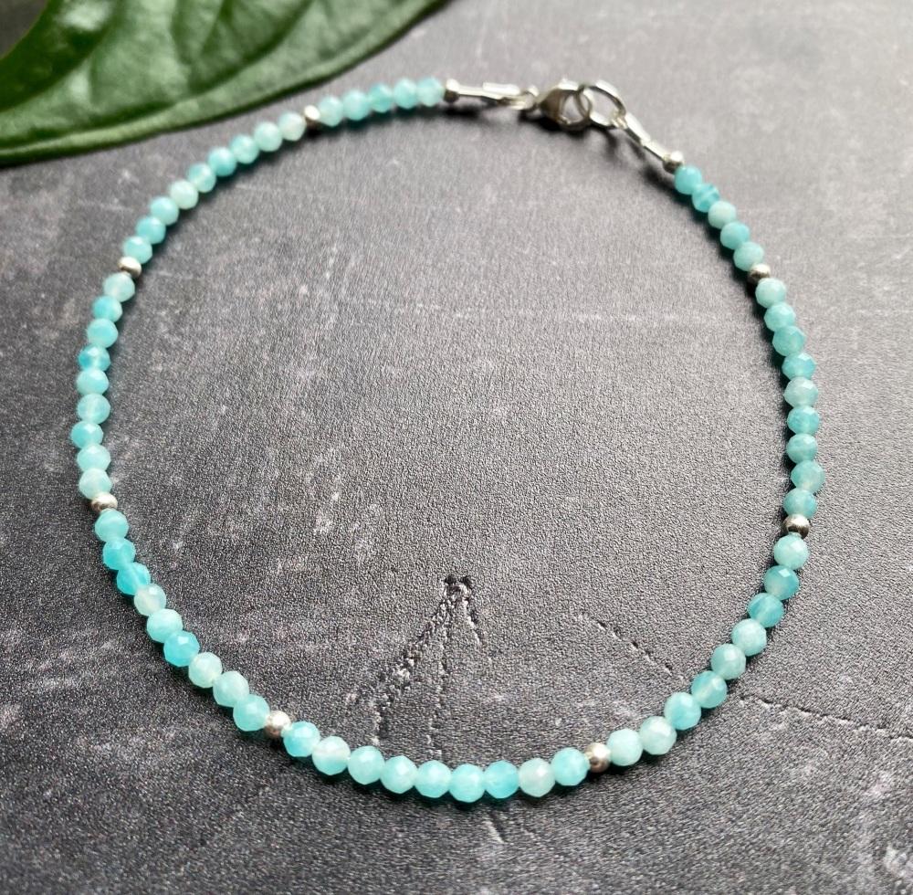 Amazonite & Sterling Silver Stacking Bracelet