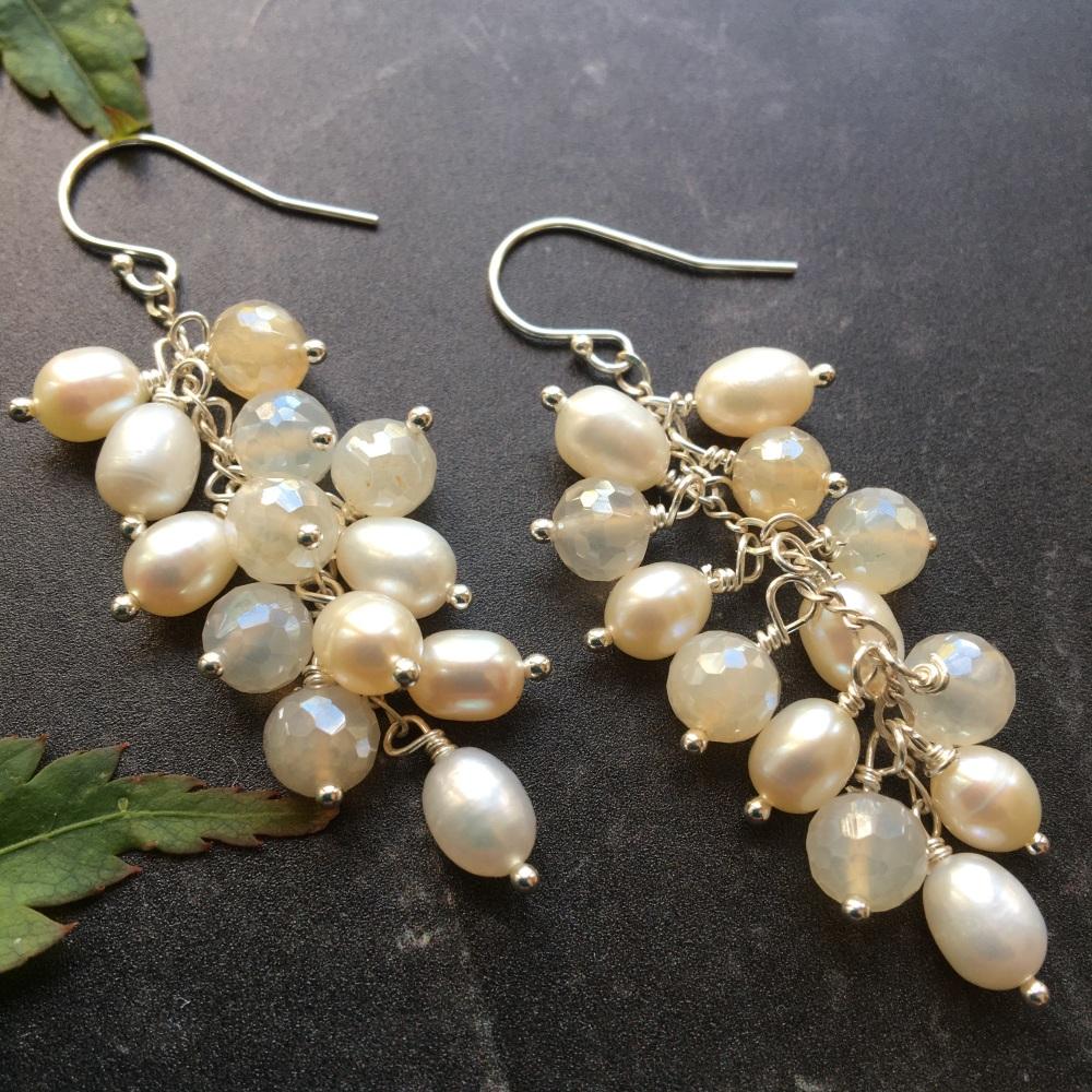 Freshwater Pearl & Chalcedony Sterling Silver Waterfall Earrings