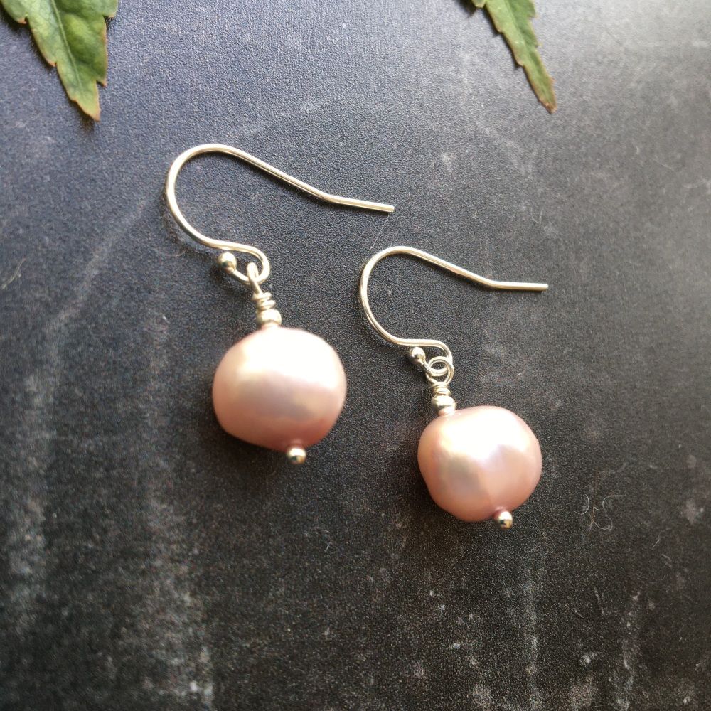 Pink Baroque Pearl and Sterling Silver Earrings