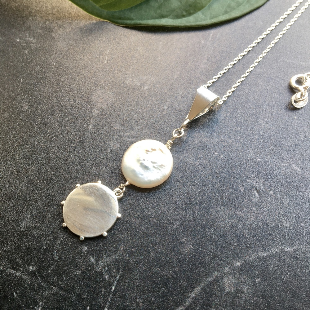 Coin Pearl and Beaded Silver Disc Sterling Silver Necklace