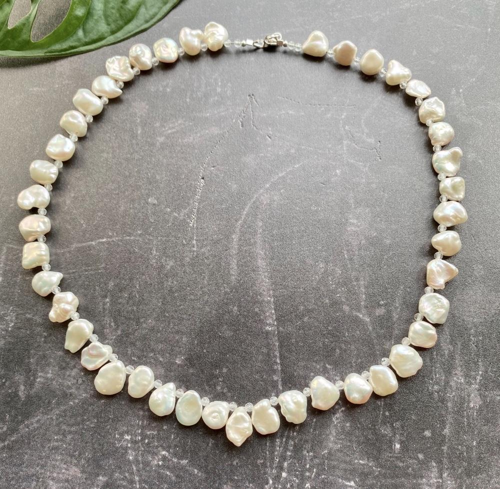 Keshi Pearl & White Topaz Collar Necklace