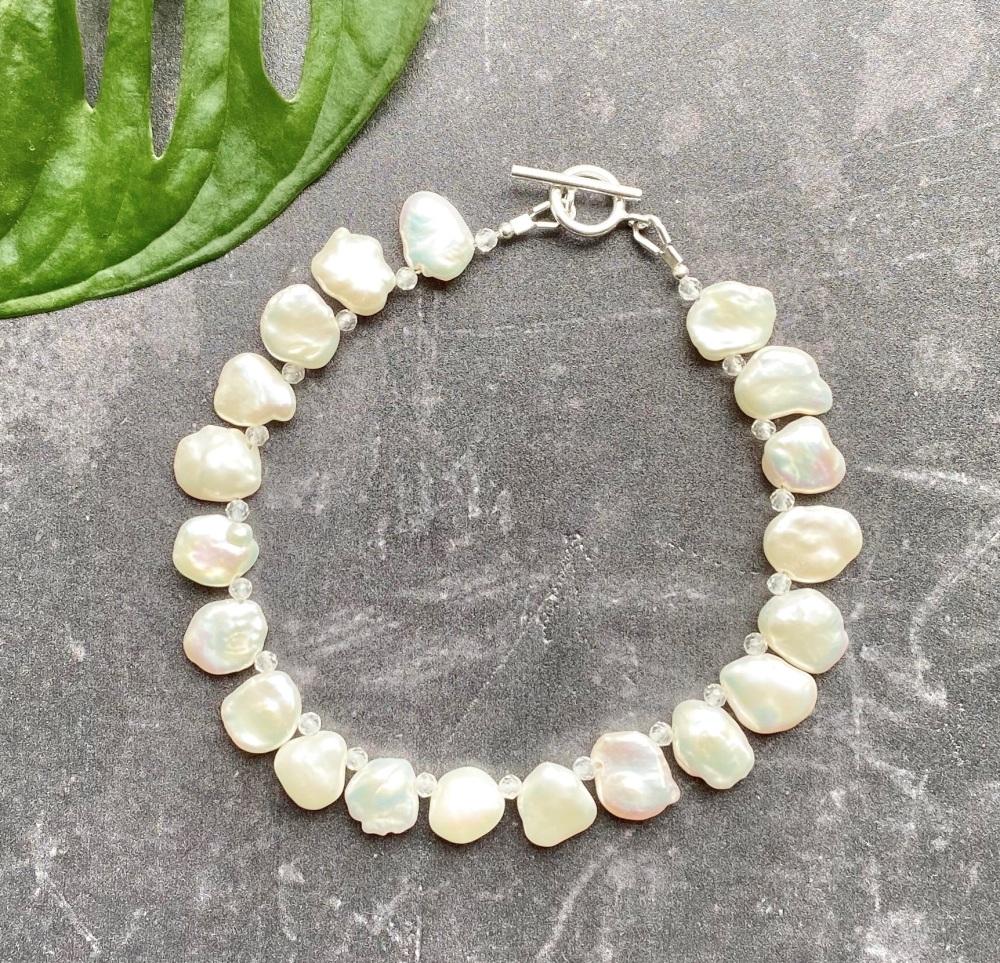 Keshi Pearl & White Topaz Bracelet