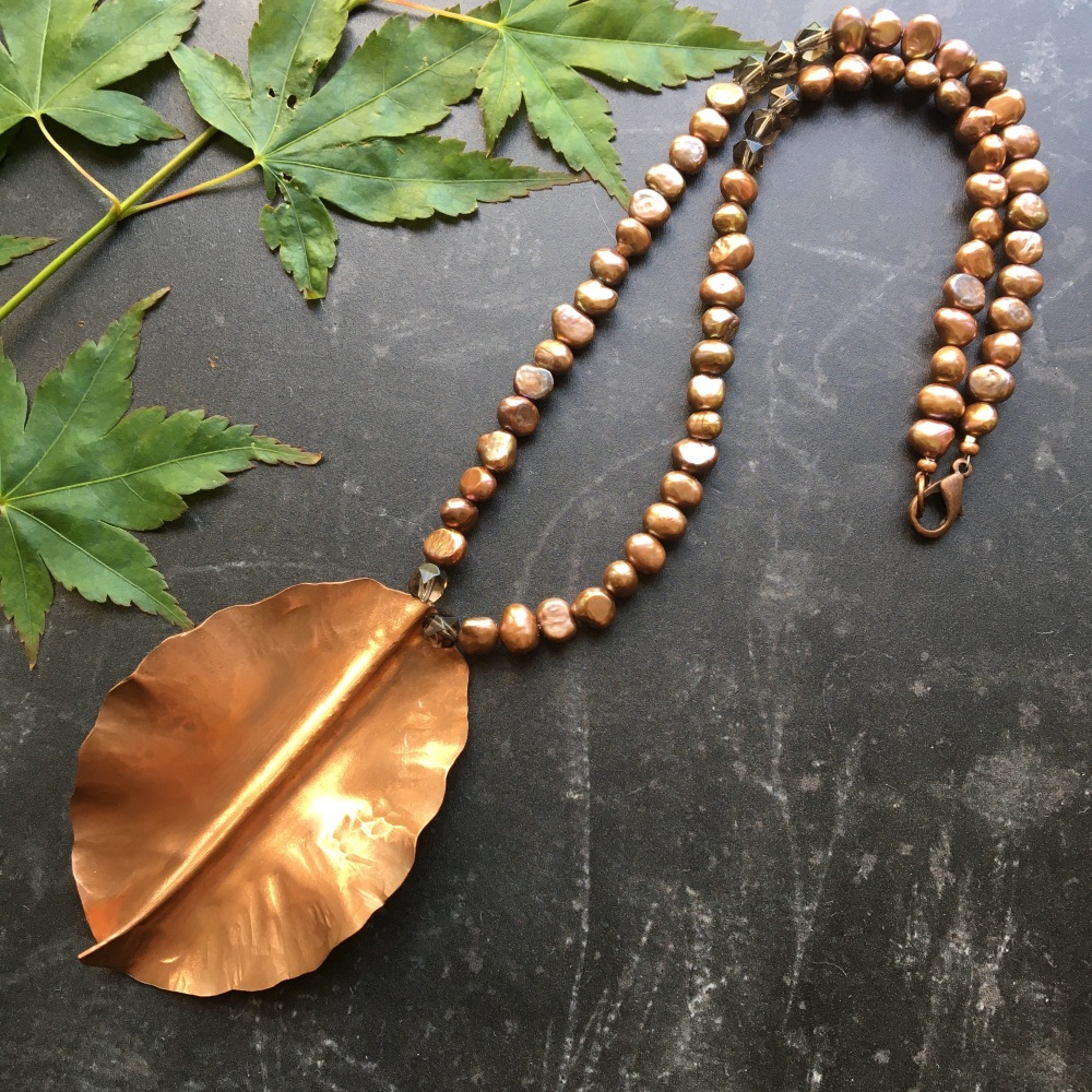 Copper Leaf & Bronze Freshwater Pearl Necklace