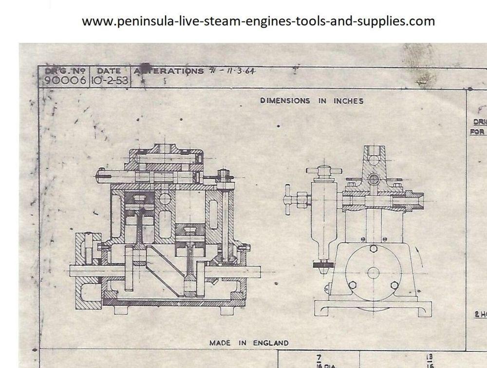 1953 STUART TURNER SUN LIVE STEAM MARINE ENGINE DRAWING AND PARTS LIST (NEW