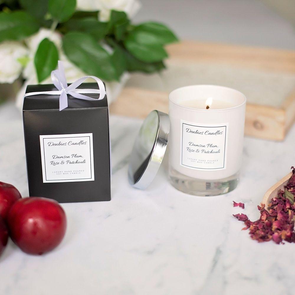 Damson Plum, Rose & Patchouli Luxury Glass Candle