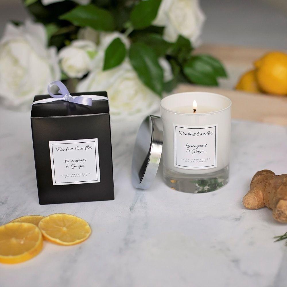 Lemongrass & Ginger Luxury Glass Candle