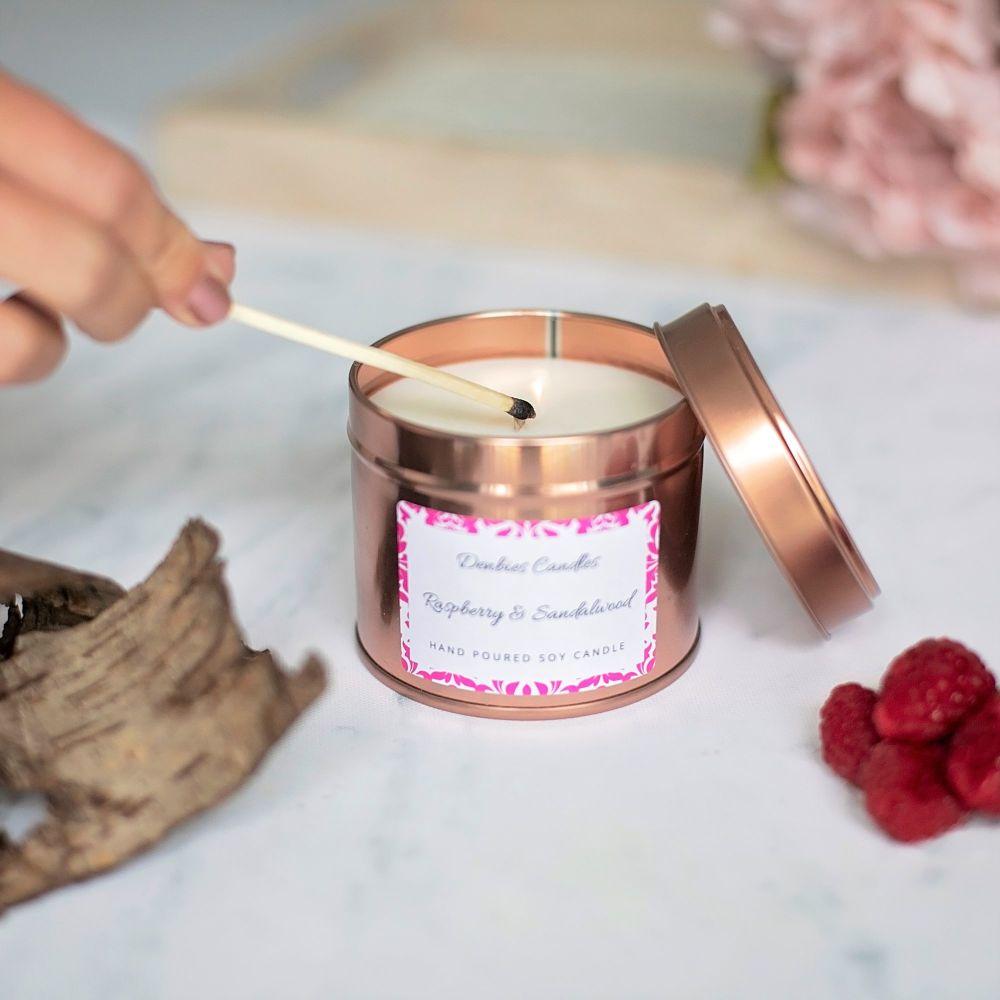 Raspberry & Sandalwood Candle Tin
