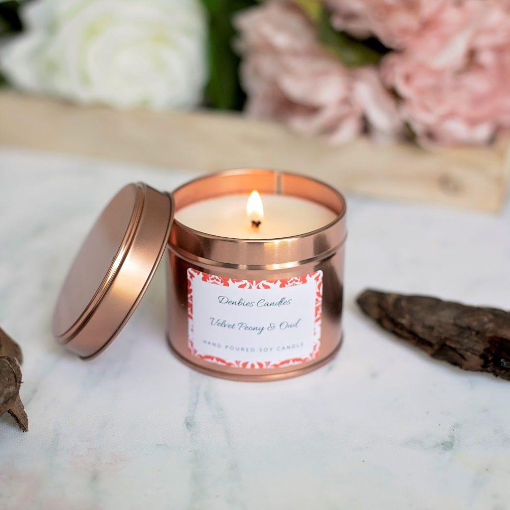Velvet Peony & Oud Candle Tin