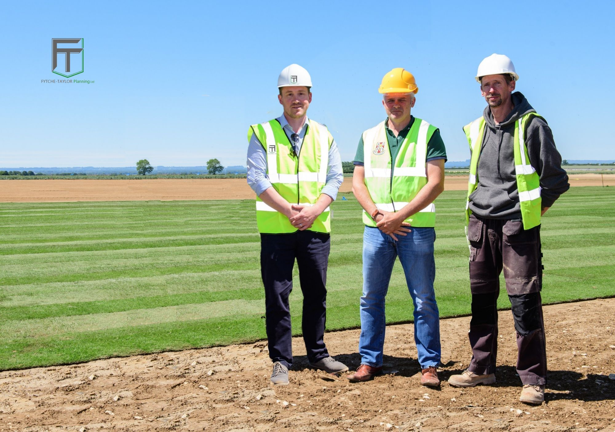 Managing Director Oliver Fytche-Taylor with representatives from Lincoln City Football Club during construction of the new Elite Performance & Training Centre