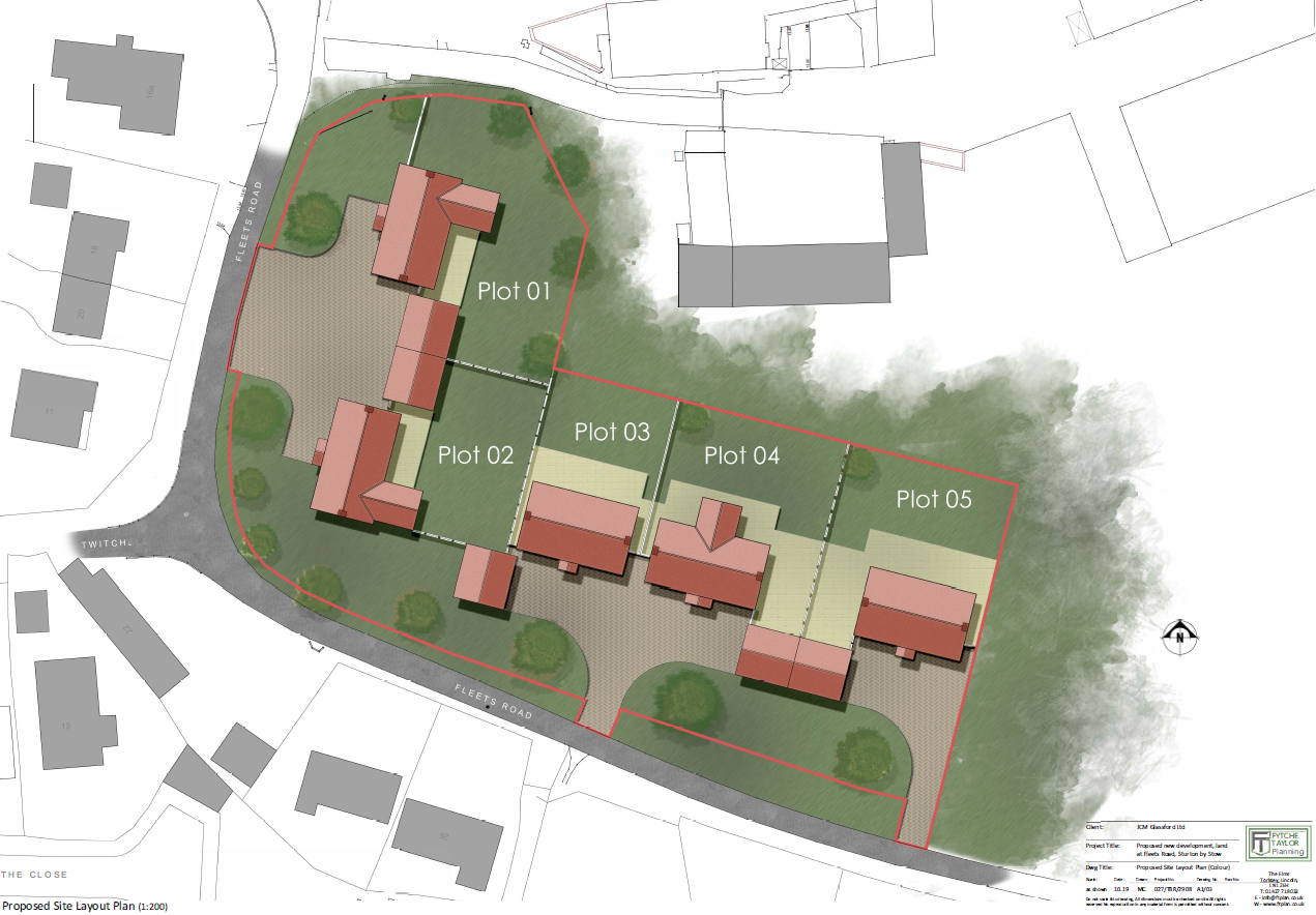 Indicative block plan to support planning application - site at Sturton by Stow near Lincoln