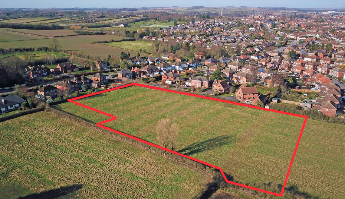 Residential Development Land for Sale in Louth, Lincolnshire. Planning for 12 homes in an idylic setting.