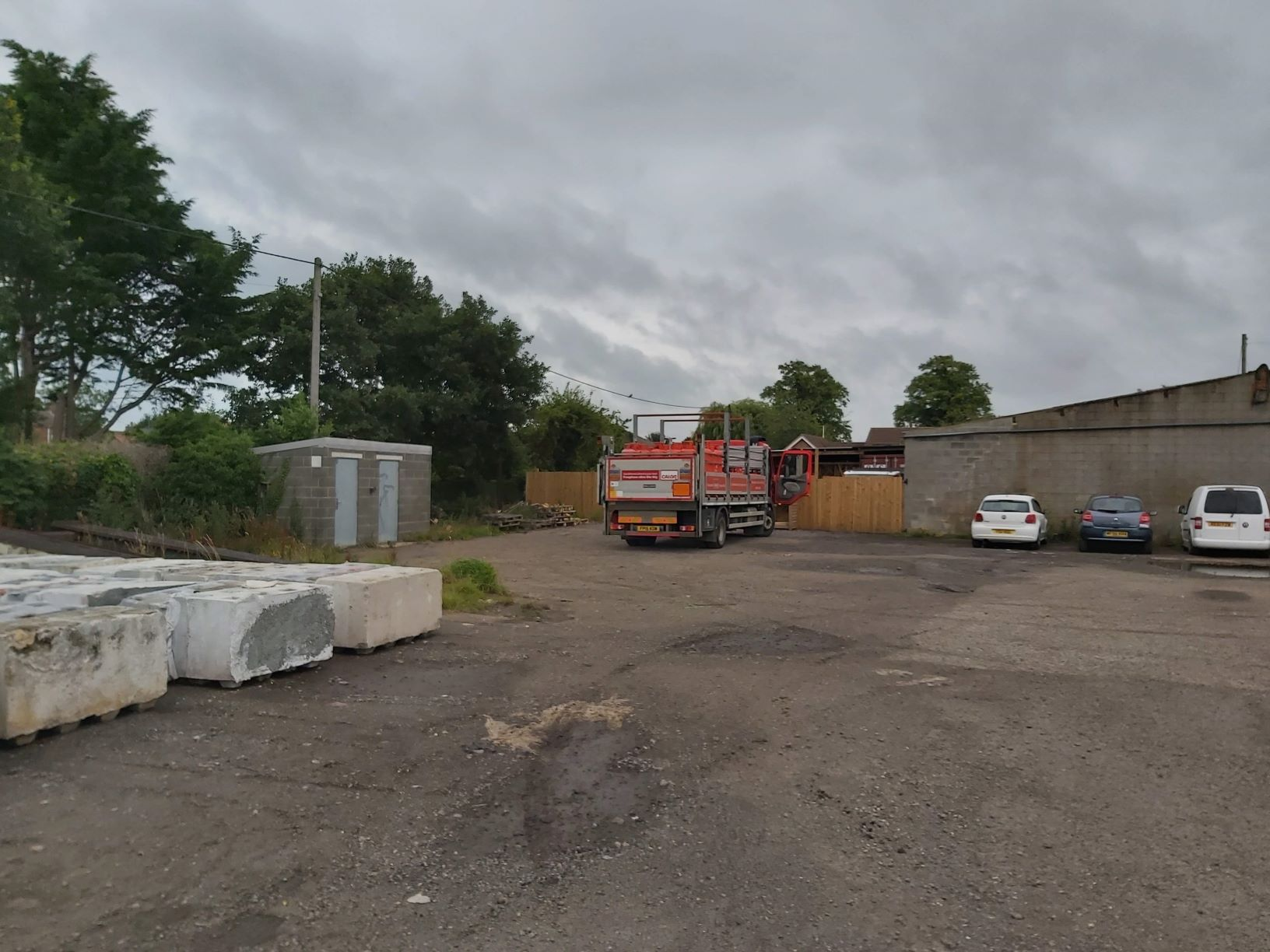 Existing view of part of the former haulage site - planning application approved for redevelopment of Fosters Yard in Langworth near Lincoln