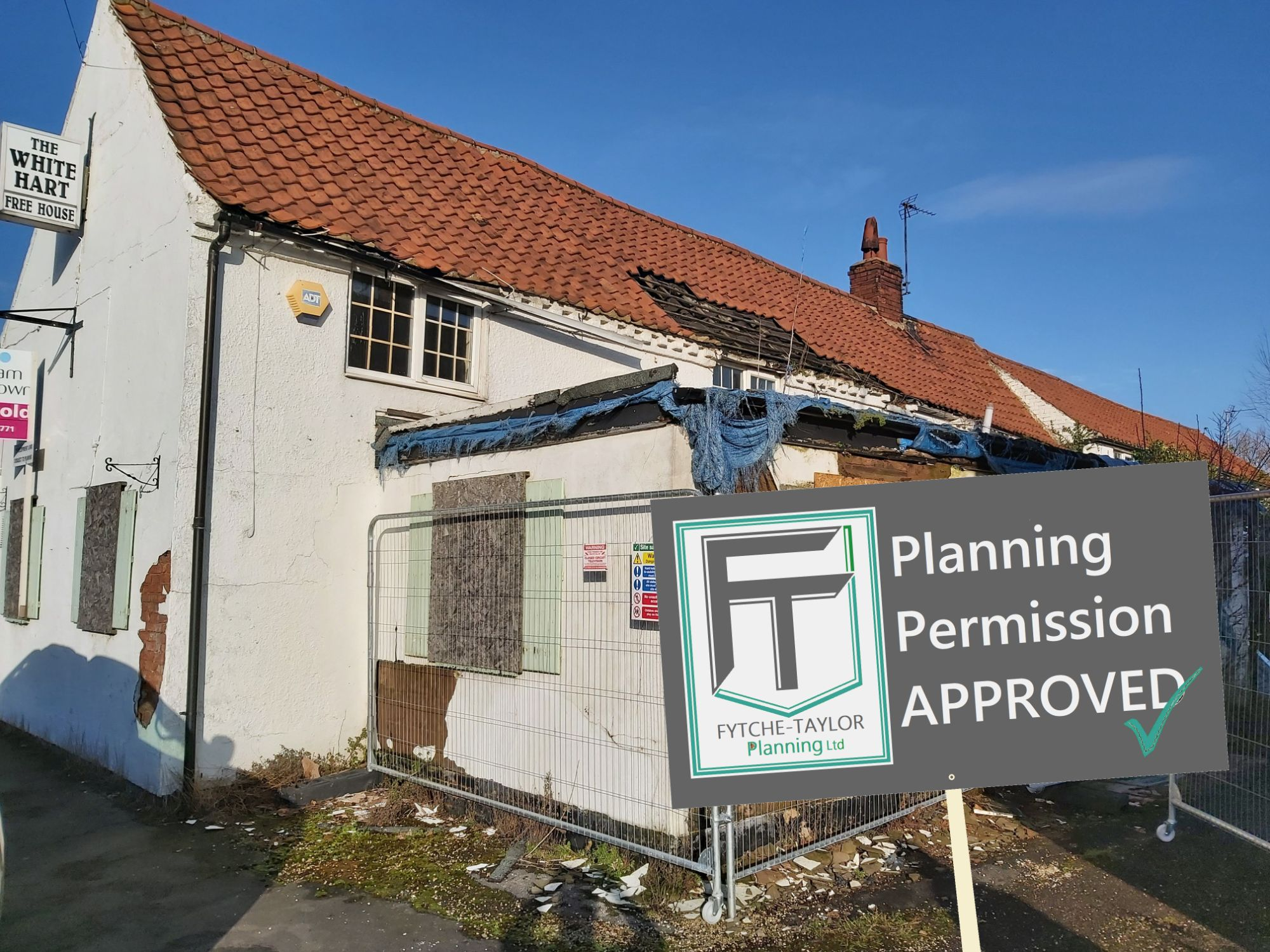 Former White Hart Hotel in Newton on Trent near Lincoln. Planning application approved and permission granted for conversion to 3 new homes.
