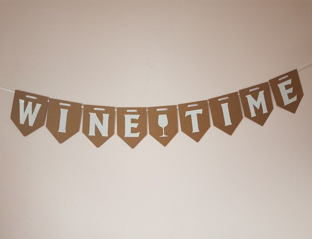 """""""WINE TIME"""" Bunting. Party Banner. FREE POSTAGE"""