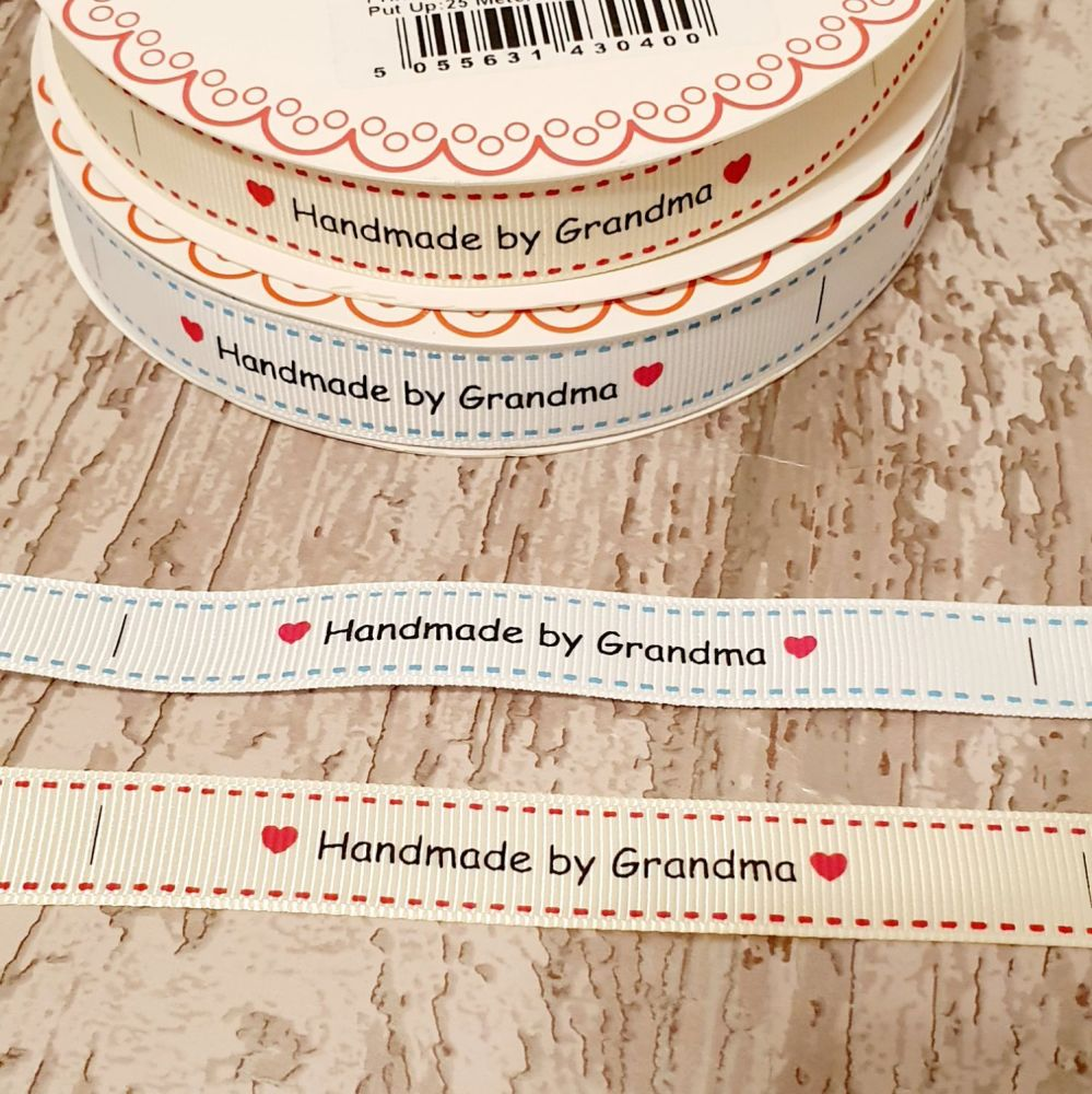 Handmade By Grandma  ribbon 16mm ivory
