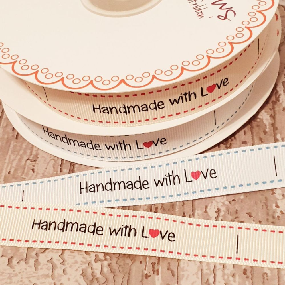 Handmade with L♥️ve  ribbon 16mm - 2 metres