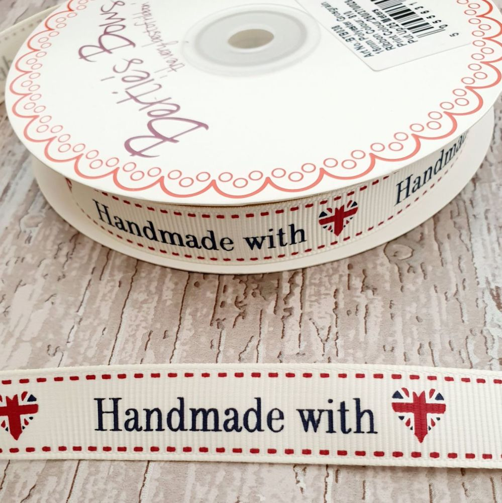 Handmade with love - Union Jack ribbon 16mm ivory