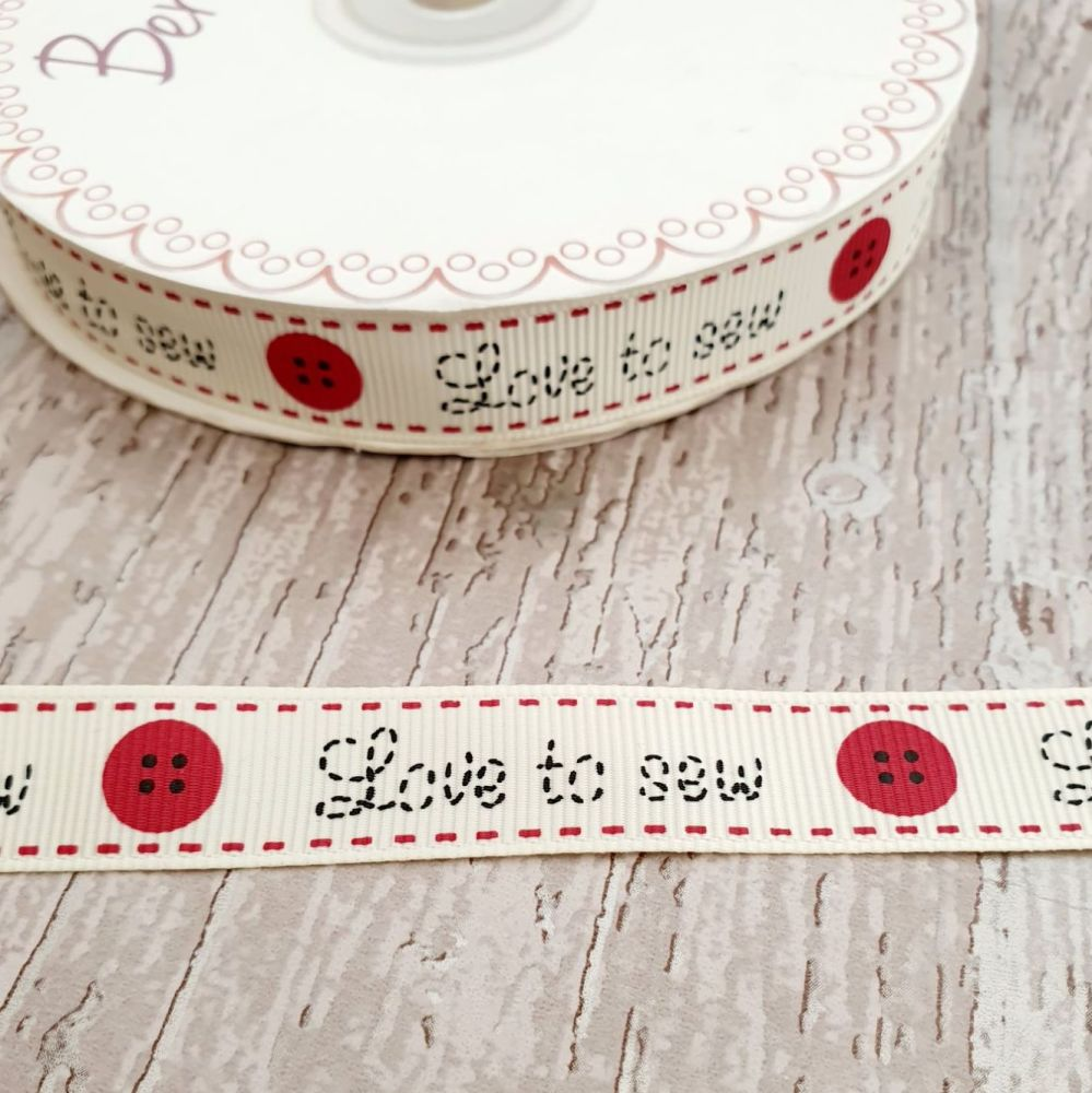 Love to sew ribbon 16mm ivory