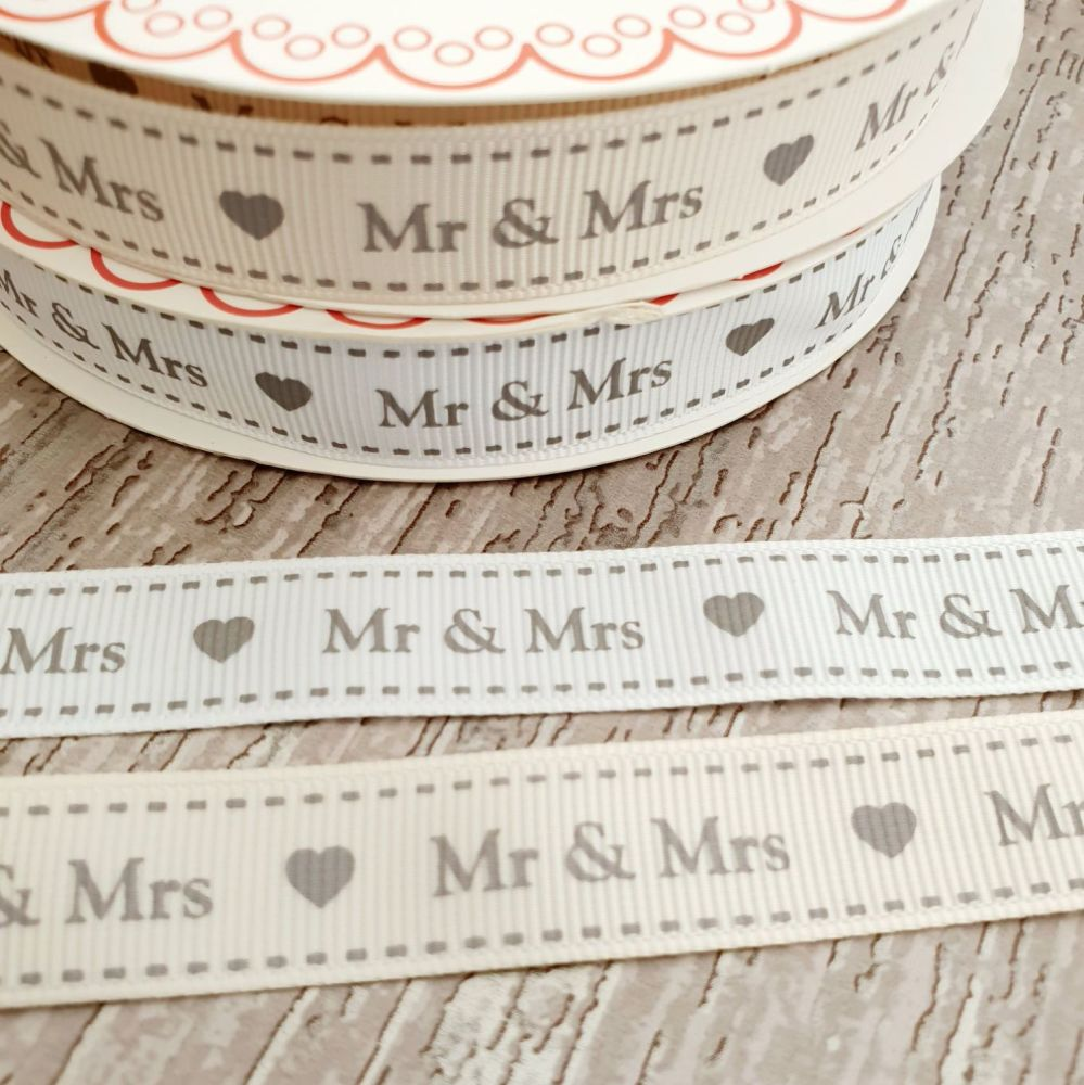 Mr and Mrs ribbon 16mm ivory or white