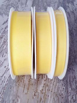 Grograin Ribbon - YELLOW - 20 metre reels. 10mm, 15mm or 22mm