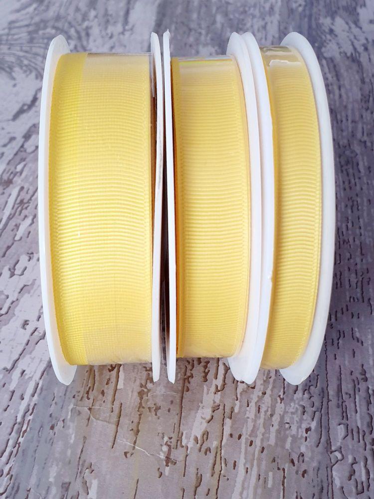 Grograin Ribbon - YELLOW - 20 metre reels. 10mm, 15mm or 22mm