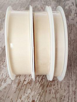 Grograin Ribbon - IVORY - 20 metre reels. 10mm, 15mm or 22mm