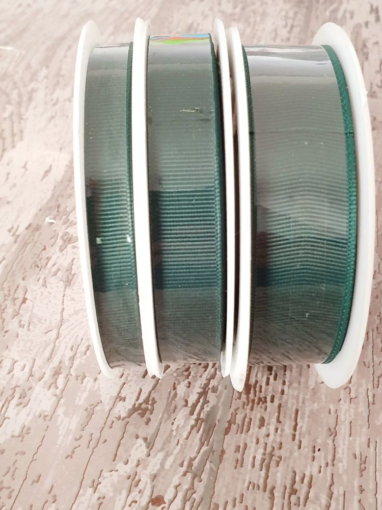 Grograin Ribbon - GREEN - 20 metre reels. 10mm, 15mm or 22mm