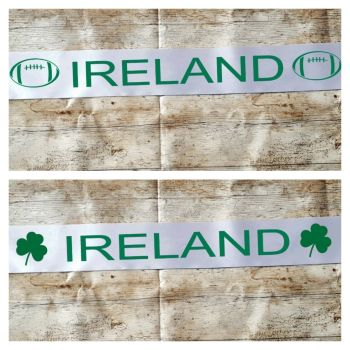 Ireland rugby world cup banner. Party decoration. Rugby ball or shamrock
