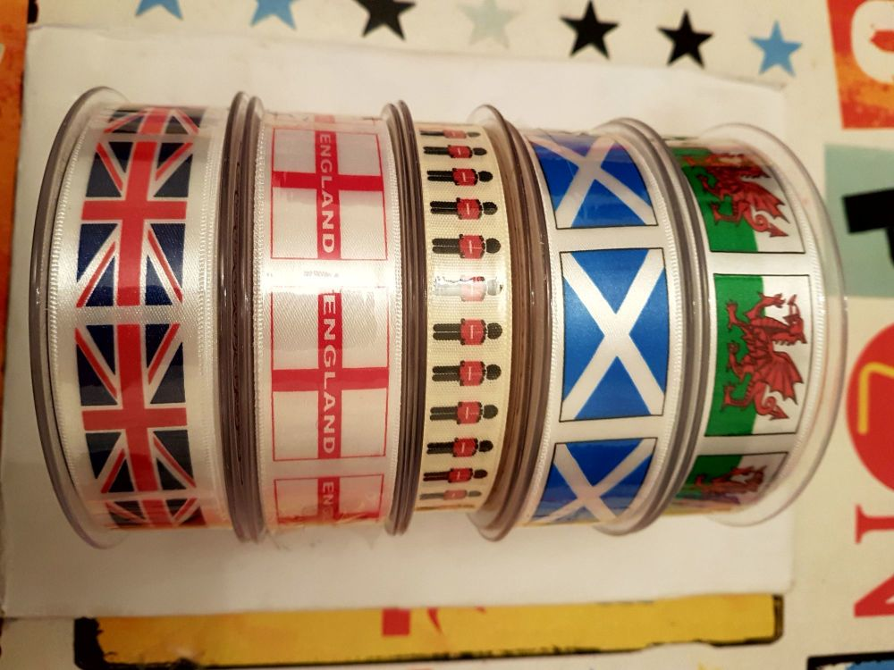 Patriotic Ribbon - ENGLAND 25mm 2 metres. St George's flag