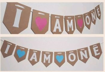 I AM ONE First Birthday Bunting. FREE POSTAGE