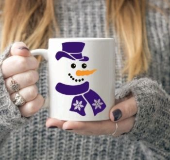 Snowman face mug with blue / purple scalf